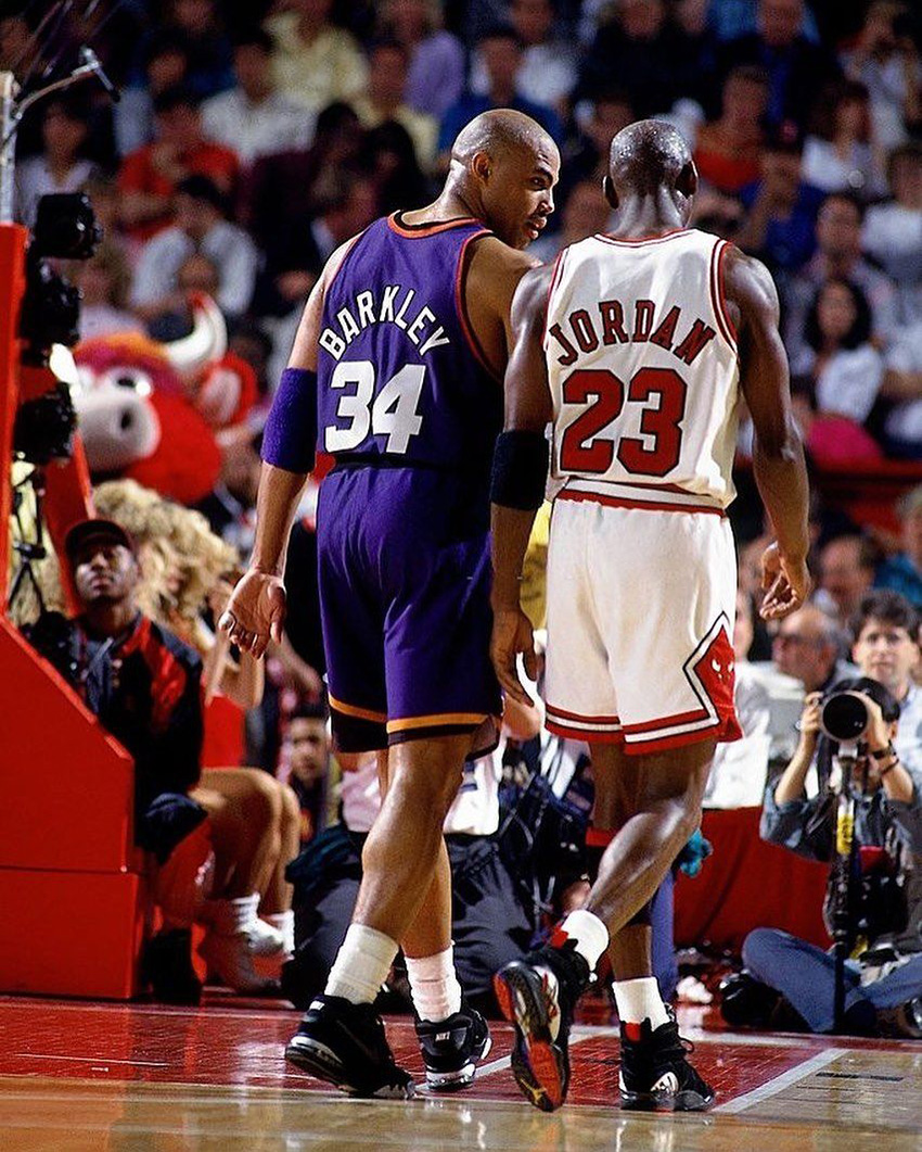 Michael Jordan wearing the Air Jordan 8 Playoffs