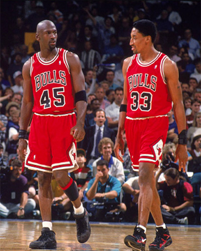 Chicago Bulls Sneakers - Michael Jordan in the Air Jordan 10, Scottie Pippen in the Nike Air Uptempo Mid