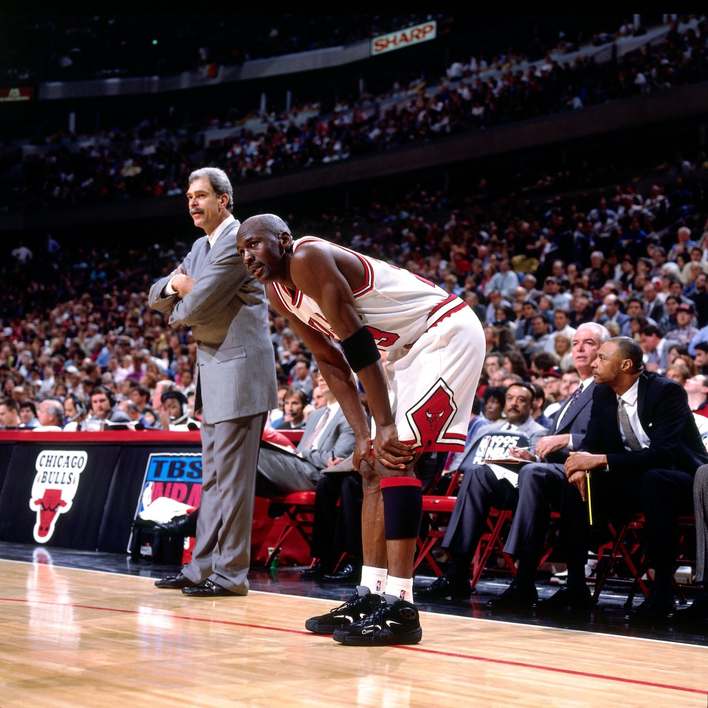 Michael Jordan wearing the Nike Air Flight One.