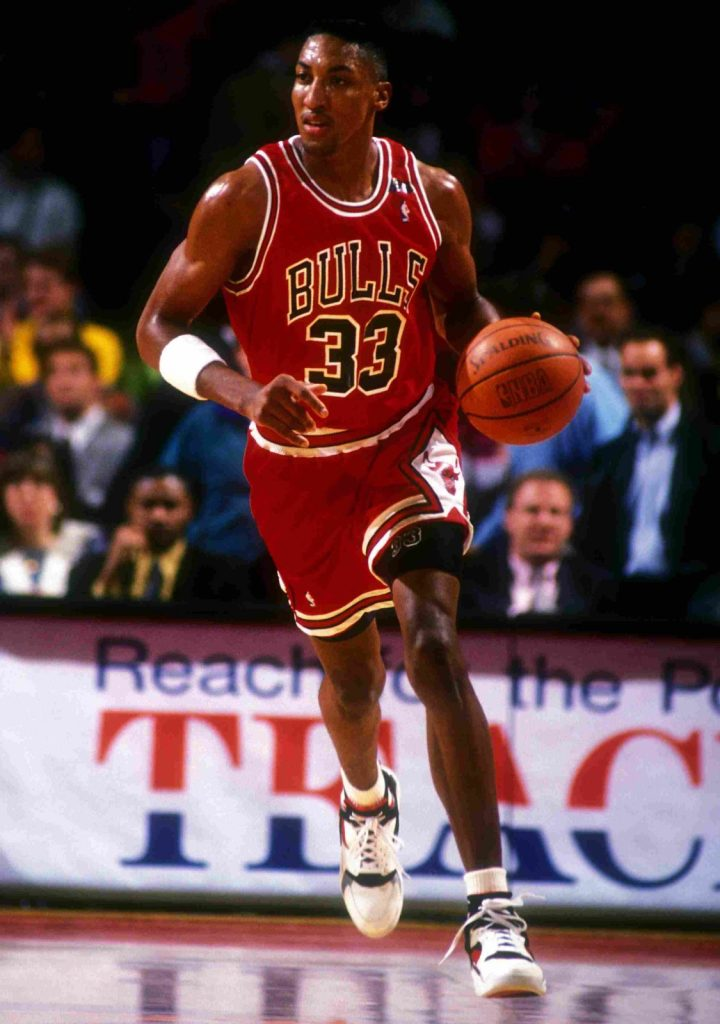 Scottie Pippen wearing the Air Huarache B-Ball