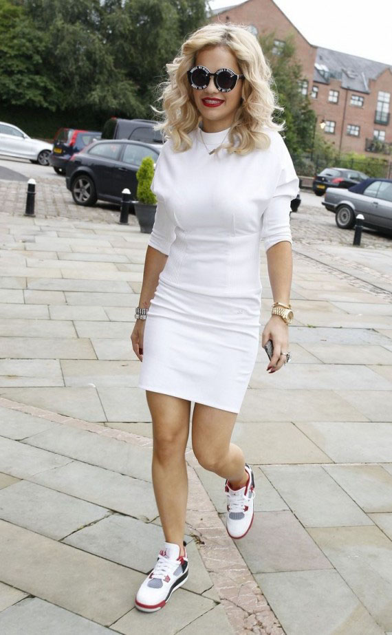 Rita Ora wearing the Air Jordan 4 Fire Red