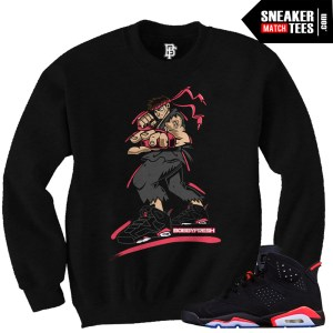 Infrared 6 Jordans matching sneaker tees shirts streetwear clothing