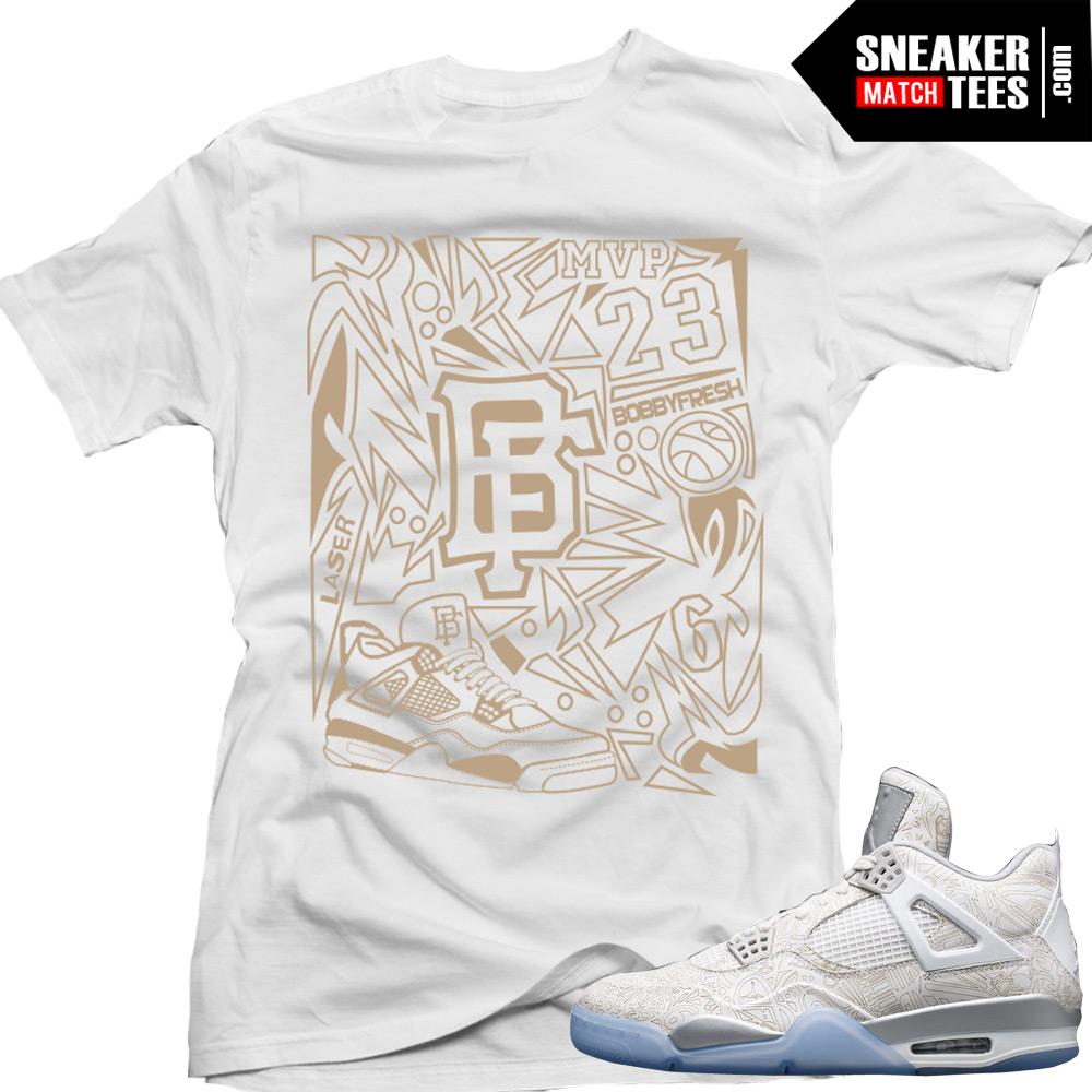 """0c8a26f165175b ... Jordan Retro 4 Laser matching shirt """"Laser Fresh"""" sneaker tee White ..."""