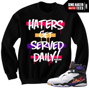 Jordan 8 Three Peat sneakers match T shirts