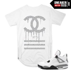 Jordan 4 Cement White OG match Scoop Zipper tee shirt