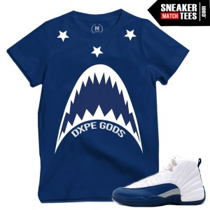 French Blue 12s matching sneaker tees