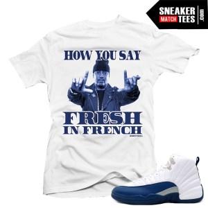 Match Sneakers tees shirts French Blue 12s Jordan Retros