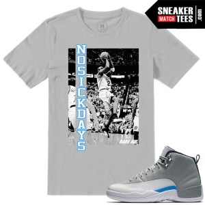 Jordan Retros T shirts Match Wolf Grey 12s UNC