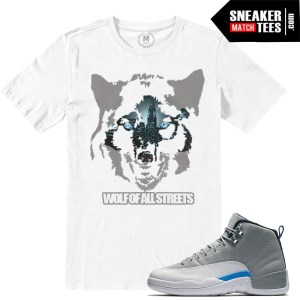 Match Wolf Grey 12 Jordan Retros t shirts