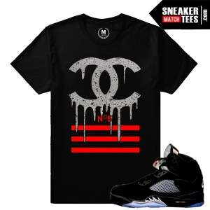 Jordan 5 Black Metallic matching shirt
