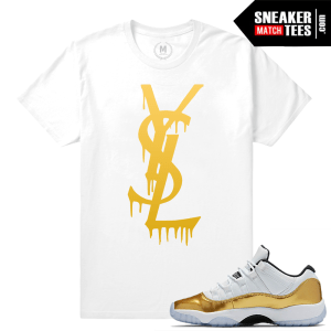 Gold 11 Lows Matching Sneaker Tee Shirt