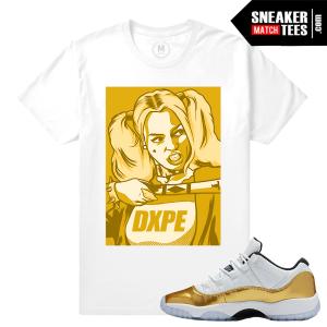 Sneaker Tees Shirt match Gold 11 Lows