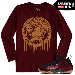 Sneaker shirts match Maroon Foams