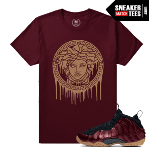 T shirts Maroon Foamposite Match Sneakers