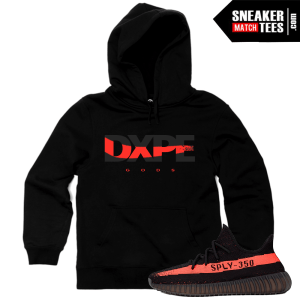 Hoodies Match Yeezy Boost 350 Black Red Addidas