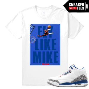 Jordan 3 True Blue Retros Matching Sneaker T shirts
