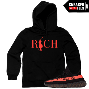 Yeezy Boost 350 VA Black Red Hoodie Match