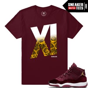 Match Jordan 11 Velvet Maroon T shirt