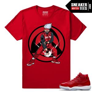 Jordan 11 Win Like 96 Gym Red Sneaker tees Red Kakashi Hype