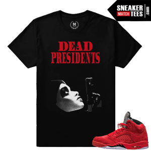 Retro Jordans 5 t shirts Red Suede