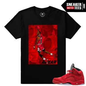 Jordan 5 Red Suede sneaker shirt
