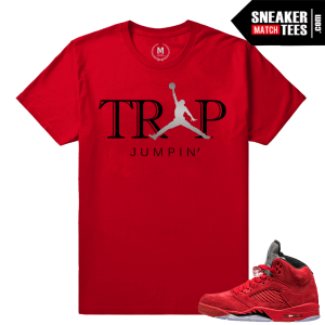 Jordan 5 Red and Black shirts match Red Suede 5s