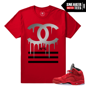 Jordans 5 shirts matching Red Suede 5s
