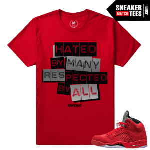 Red Suede 5s shirt matching Jordan 5