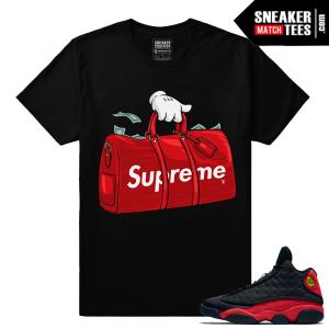 Air Jordan 13 Bred Supreme X LV Money Duffle T shirt