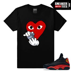Jordan 13 Bred matching sneaker tee shirt