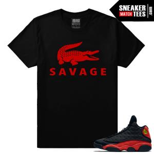 Streetwear Sneaker shirt matching Bred 13s Savage