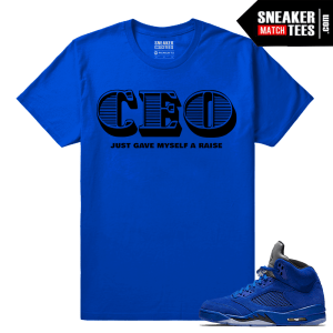 Air Jordan 5 Retro Blue Suede Tees