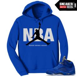 Jordan 5 Blue Suede Hoodie NBA
