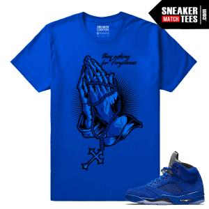 Jordan 5 Sneaker tee Blue Suede