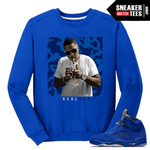 Nas Real Rap Blue Suede 5 Crewneck