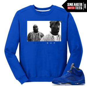 Tupac Biggie Real Rap Blue Suede 5s
