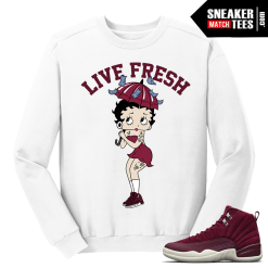 Jordan 12 Bordeaux Betty Bop White Crewneck Sweater