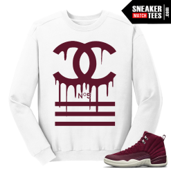 Jordan 12 Bordeaux Designer Drip White Crewneck Sweater