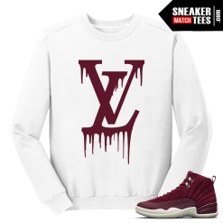 Jordan 12 Bordeaux LV Drip White Crewneck Sweater