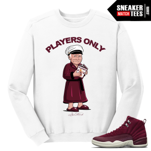 Jordan 12 Bordeaux Players Only White Crewneck Sweater