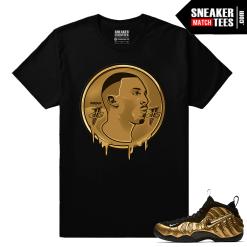 Metallic Gold Foamposites Coin Drip Black Sneaker tees