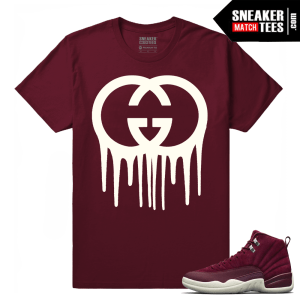 Air Jordan 12 Bordeaux Gucci Drip Maroon T shirt