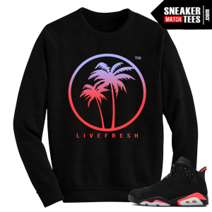 Infrared 6s Black Crewneck Sweater Live Fresh Palm