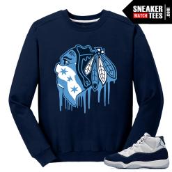 Jordan 11 Midnight Navy Crewneck Sweater Black Hawks Drip