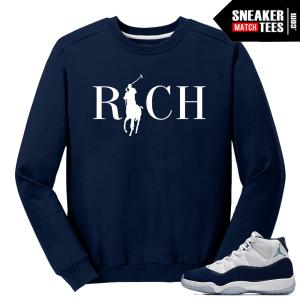 Jordan 11 Midnight Navy Crewneck Sweater Country Club Rich
