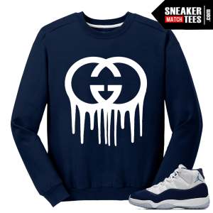 Jordan 11 Midnight Navy Crewneck Sweater Gucci Gang Drip