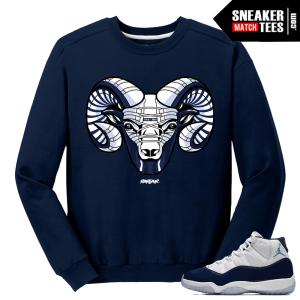 Jordan 11 Midnight Navy Crewneck Sweater UNC Ram 11