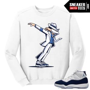 Jordan 11 Midnight Navy Crewneck Sweater White Dabbin MJ