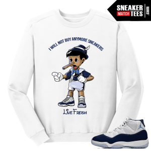 Jordan 11 Midnight Navy Crewneck Sweater White Pinocchio