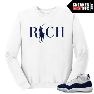 Jordan 11 Midnight Navy Crewneck Sweater White Rich